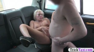 Fiery Busty blonde mature banged in the taxi to off her fare