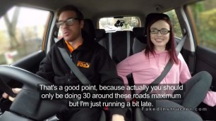 Sexy ass redhead rides fake instructor in car