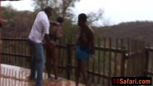 African teens enjoy getting abused outdoors