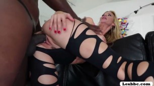 Blonde Dazzling pornstar MILF Alexis Fawx swallow cum from Lexington Steel black cock