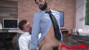 Bearded stud blows cock and gets asshole banged