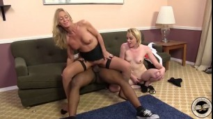 Busty MILF cherry sharing huge black cock with nasty stepdaughter