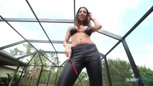 Dava Foxx JOI humiliation brunette dirty talk latex heels