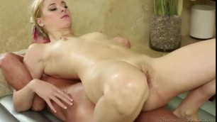 Sexy masseuse sucking hot clients schlong in the shower