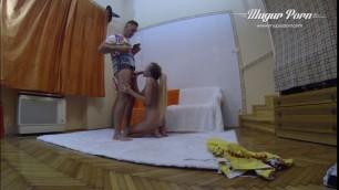 Cute Russian student katia swallows every drop of his load