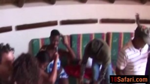 African chicks enjoy blowing and banging in orgy