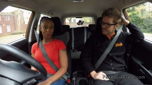 Natural Nice busty ebony fucks instructor in his car