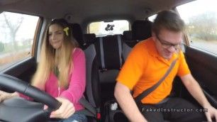 Natural Sweet busty babe bangs in driving school car