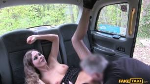 Tina Kay depraved girl in black stockings fucked in the car