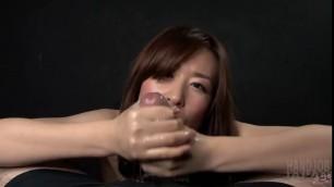 Pretty Asian cutie Nipsy tasting lovers cum after oily handjob