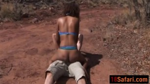 African honey forced to blow and bang outdoors