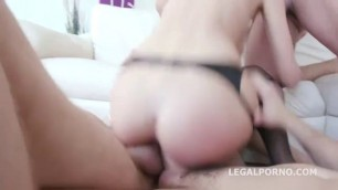 Lustful blonde slut Tia handles two cocks up the ass with ease