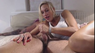 Sexy blonde MILF mileena in high heels riding cock before blowjob