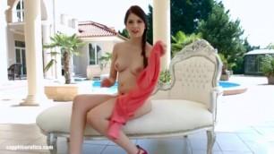 harming Brunette Teen Rebecca Volpetti masturbating
