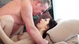 Old and Young Porn Sweet innocent girlfriend Rebecca Volpetti gets fucked by grandpa
