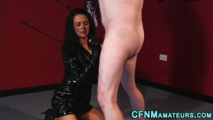Stunning Brunette Clothed domina jerks cock
