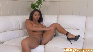 Round ass ebony chick with huge melons is taking in a massive cum blast