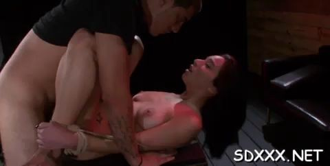 Dirty slut loves being fucked by hard cock in BDSM style