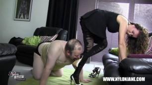 Submissive slut sucking high heel for satin panties nylon stocking cock foot worship and wank