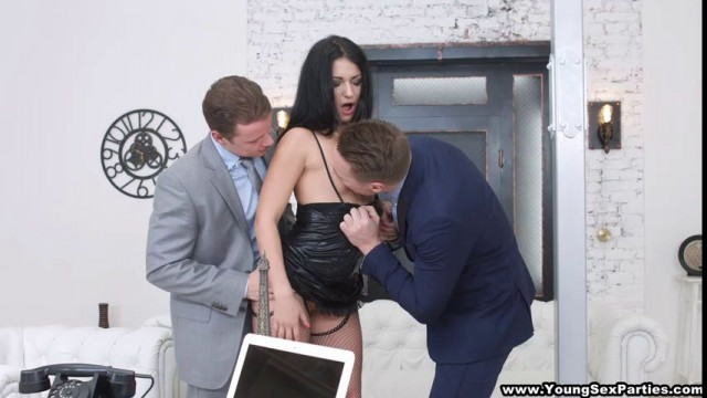 Two suits deal a massive shot of cum on the face of a courtesan