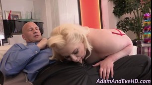 Lusty blond BBW Moriah is hungry for dick