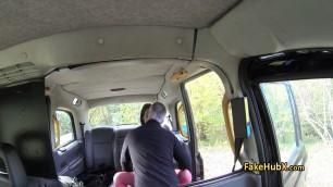 Horny brunette Rebeka got her ass fucked in taxi
