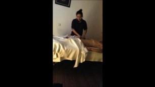 Thai Massage Hidden The girl caresses the body of a man