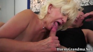 Cock sucking and riding blonde granny facialized in hi def
