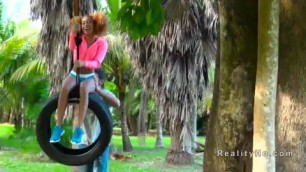 harming Ebony banging on a swinging tyre