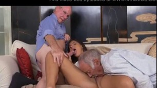 Pretty Teen Victoria Valencia Sucking Off Two Dirty Old Men At Once