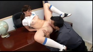 Nasty schoolgirl Mindi sucking teachers big dick in classroom