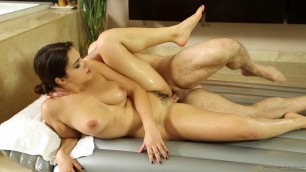 Valentina Nappi caresses his dick in the bathroom Erotic Massage