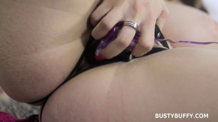 Lovely girl with big hanging breasts caresses pussy Strapon Toy