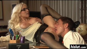 Blonde is passionate at cock sucking