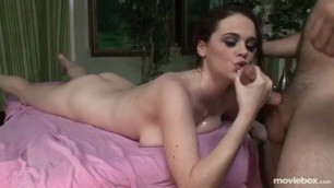Pretty Tessa Lane takes a dick between wet breasts