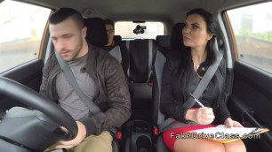 Milf Madison examiner gets two big cocks in car
