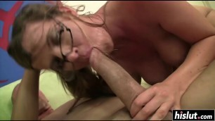 Slut in glasses desires a hard member