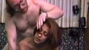 Good looking Retro ebony redhead pounded by older guy