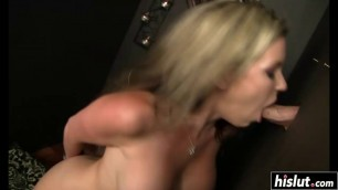Blonde eating dick through a hole