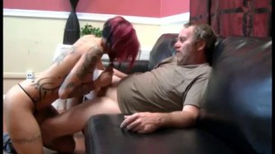 Anna Bell Peaks skinny tattooed girl fucks with a mature man