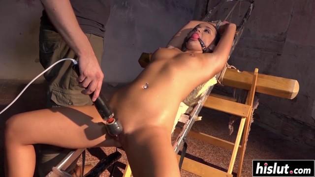 Tied up slut gets some pleasure