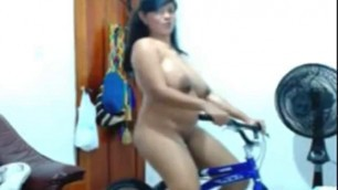 Amateur Szilvia Riding The Bike