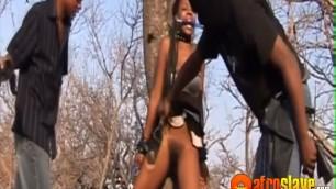Hairy ebony sex slave violated by a perverted guy