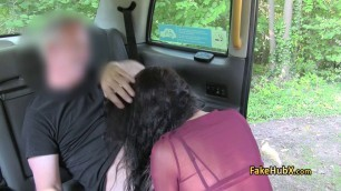 Taxi driver jizzed gals face outdoors