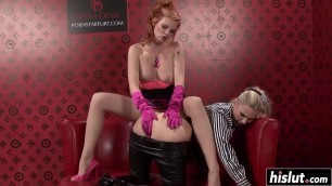 Naughty girls have fun with a sex toy