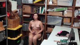 Fat dick disappears in brunette girl