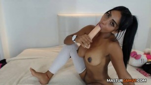 Passionate Dildo Sucking Solo Tease Round Butt Harlot Up Close