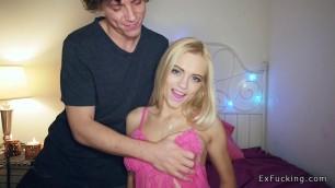 Pretty blonde in pink lingerie fucks