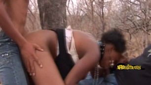 Round ass ebony slave getting pounded outdoors by her bosses