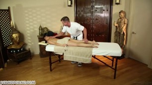 Modest Asian Cutie Cindy Starfall Gets Banged On A Massage Table